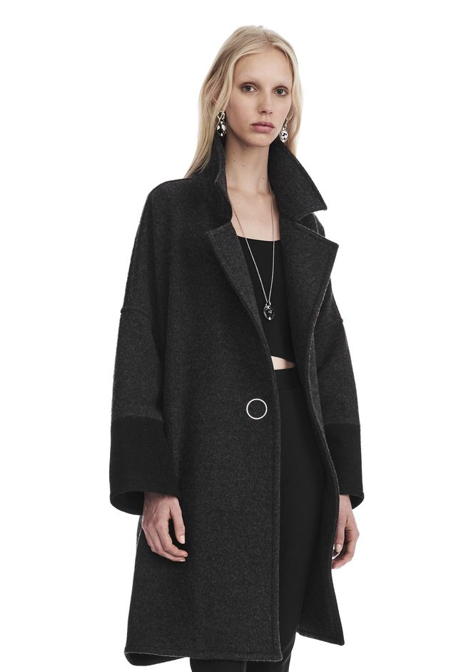 T by ALEXANDER WANG JACKETS AND OUTERWEAR  PLUSH SWING COAT WITH RING SNAP