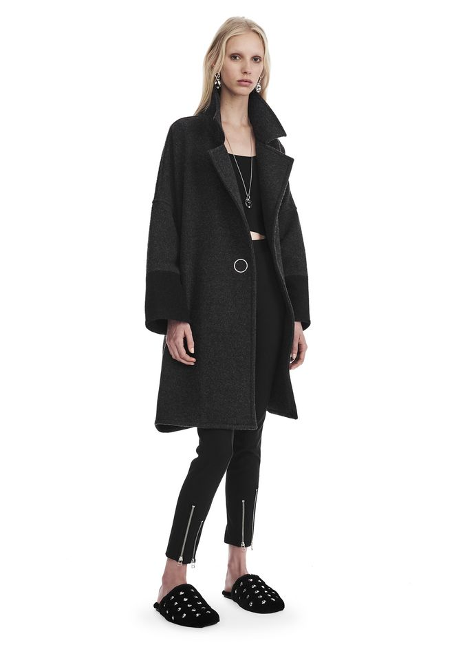 T by ALEXANDER WANG PLUSH COATING COAT WITH COLLAR JACKETS AND OUTERWEAR  Adult 12_n_f