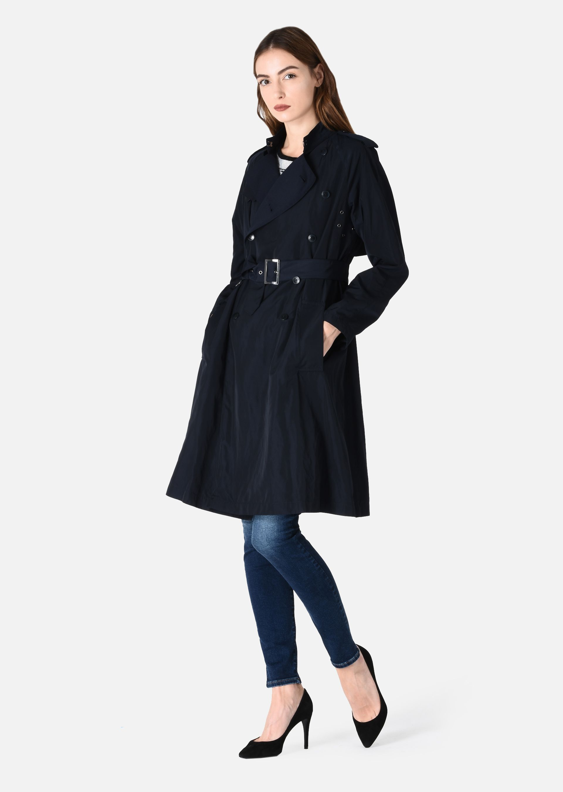 trench coat with belt for women emporio armani. Black Bedroom Furniture Sets. Home Design Ideas