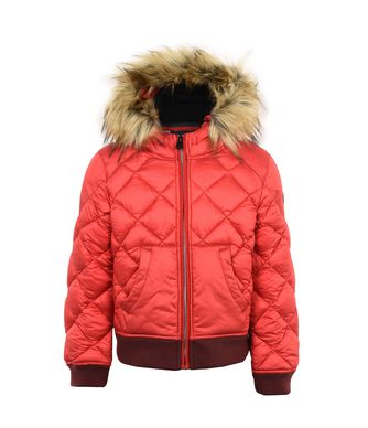 NAPAPIJRI K AIBO FAUX FUR KID KID SHORT JACKET,RED