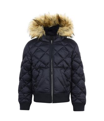 NAPAPIJRI K AIBO FAUX FUR KID KID SHORT JACKET,DARK BLUE