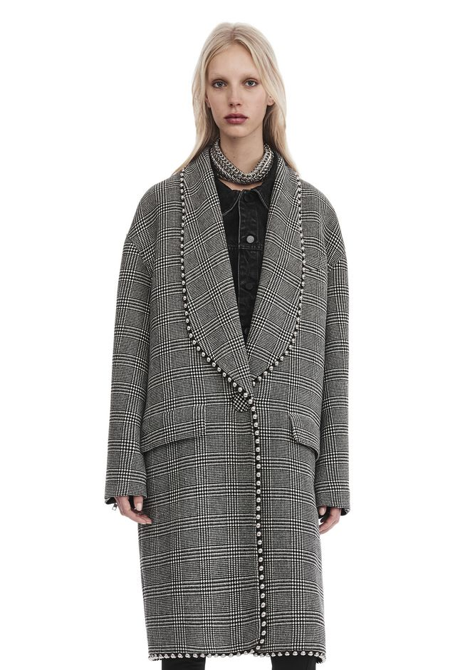 ALEXANDER WANG new-arrivals SHAWL COLLAR COAT WITH BIKER SLEEVES