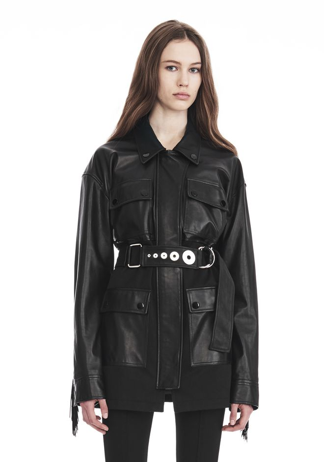 ALEXANDER WANG new-arrivals-ready-to-wear-woman UTILITY JACKET WITH LEATHER FRINGE DETAIL