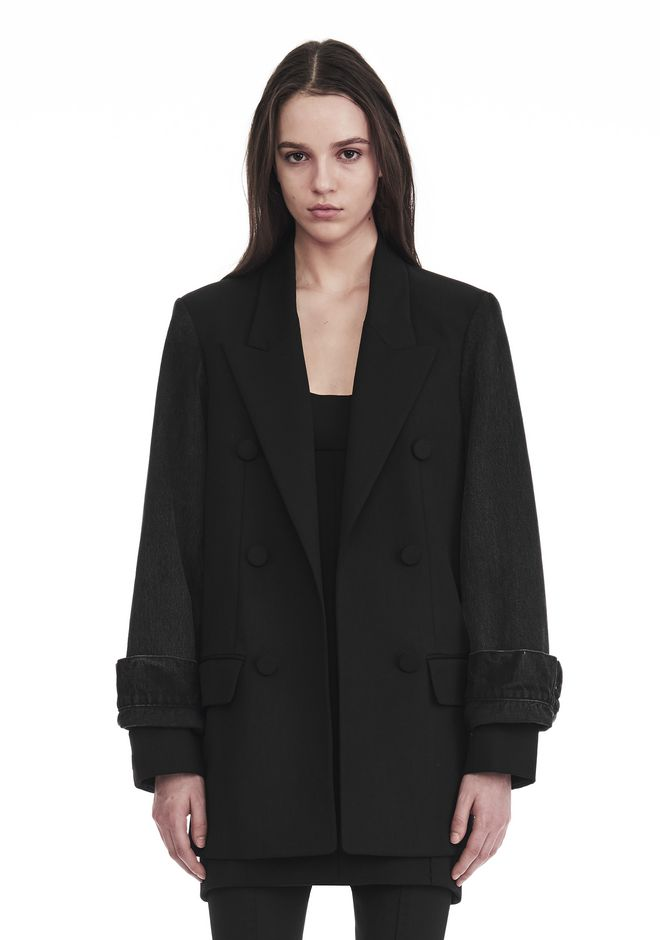 ALEXANDER WANG new-arrivals SINGLE BREASTED BLAZER WITH DENIM SLEEVES
