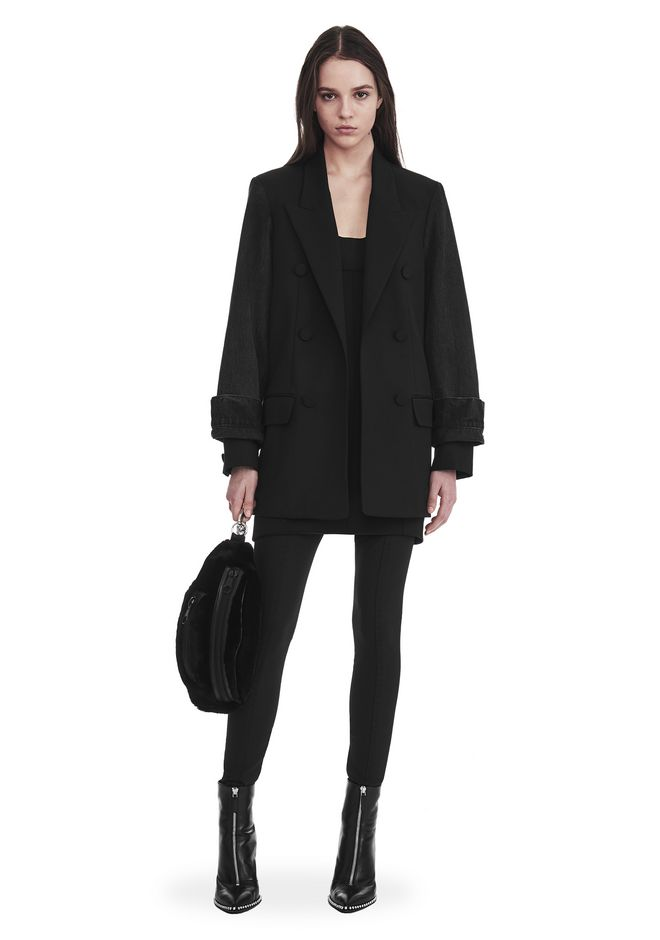 ALEXANDER WANG SINGLE BREASTED BLAZER WITH DENIM SLEEVES JACKETS AND OUTERWEAR  Adult 12_n_f