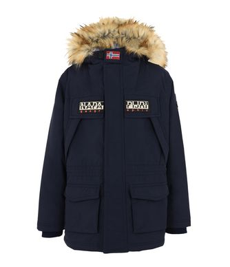 NAPAPIJRI K SKIDOO OPEN LONG FAUX FUR JUNIOR KID SKIDOO,DARK BLUE