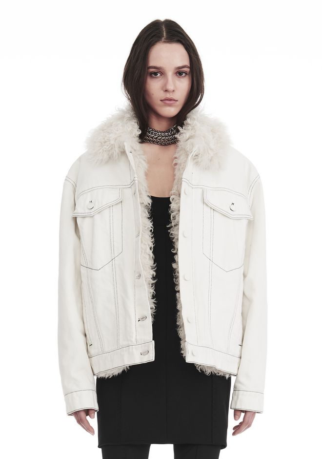ALEXANDER WANG new-arrivals BOYFRIEND DENIM JACKET WITH SHEARLING LINING