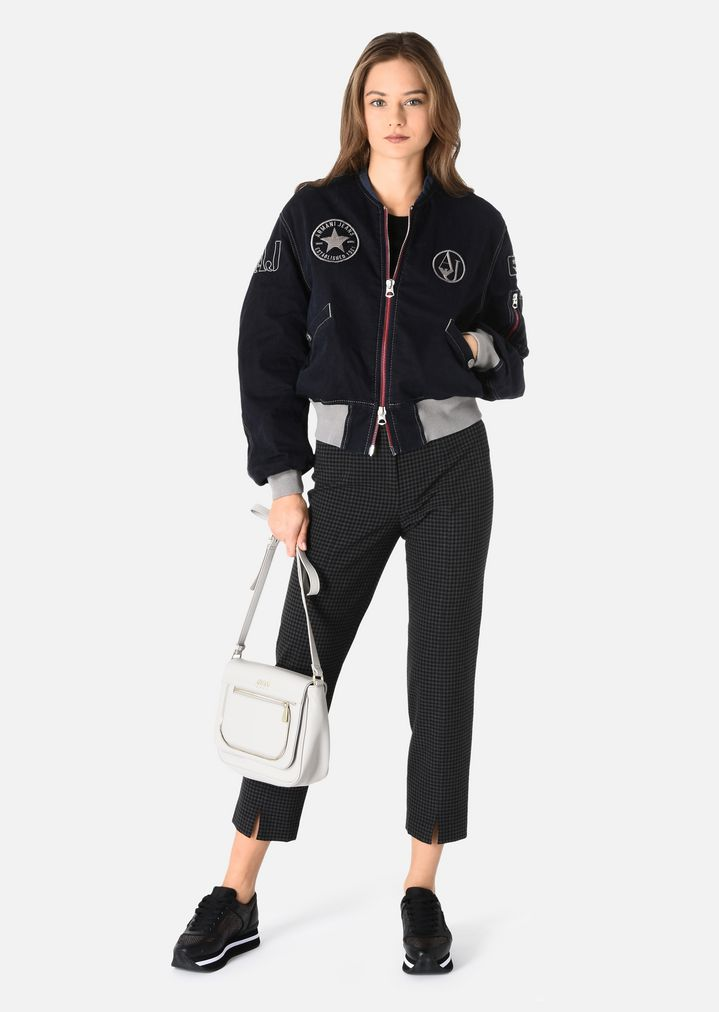 233cbb8c COTTON BOMBER JACKET WITH PATCHES | Woman | Emporio Armani