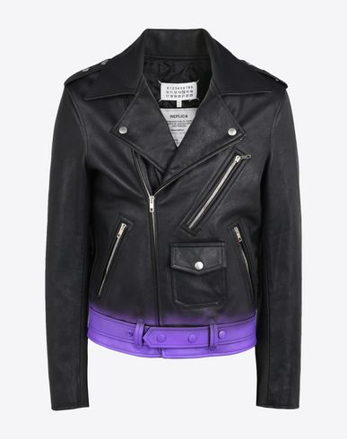MAISON MARGIELA Calfskin perfecto with spray paint detail  Leather Jacket U f