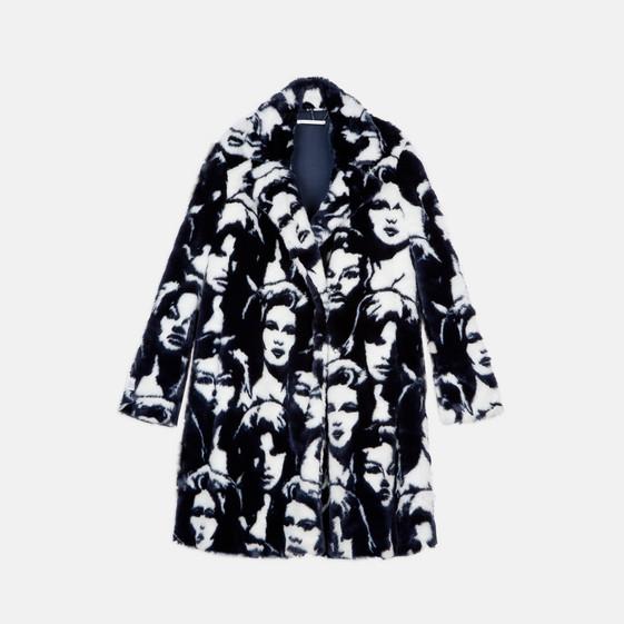 Fur Free Fur Faces Print Coat