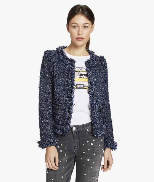 KARL LAGERFELD Bouclé Jacket With Fringes 12_f