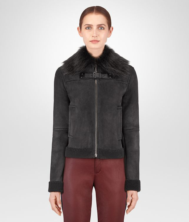 BOTTEGA VENETA DARK ARDOISE LAMB SHEARLING JACKET Outerwear and Jacket Woman fp