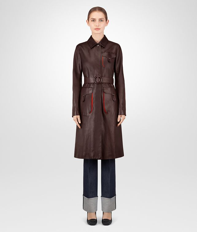 BOTTEGA VENETA DARK BAROLO CALF COAT Outerwear and Jacket Woman fp