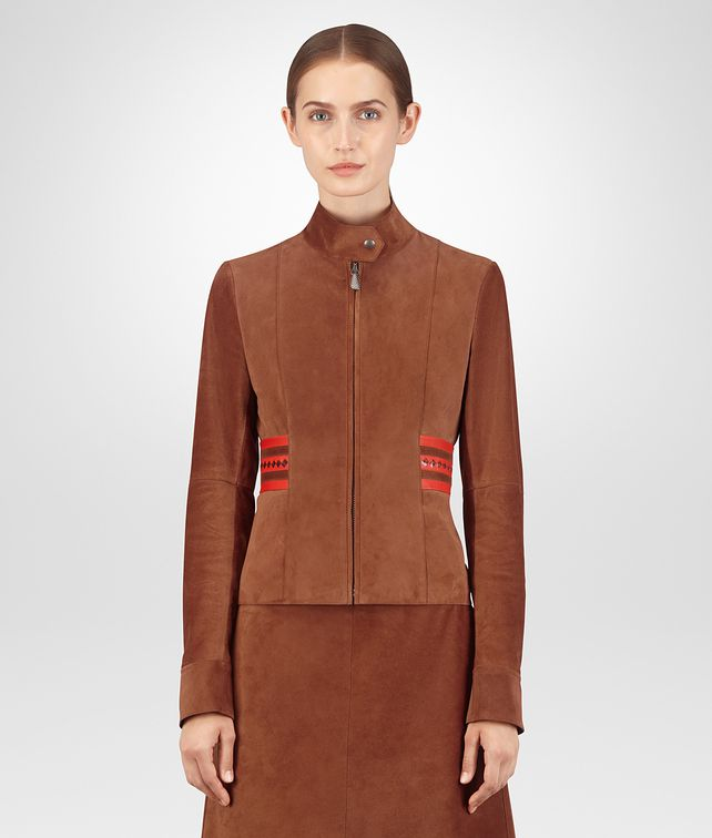 BOTTEGA VENETA CALVADOS CALF SUEDE JACKET Outerwear and Jacket Woman fp