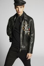 DSQUARED2 Scout Pins Leather Jacket Kaban Man