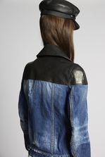 DSQUARED2 Contrasted Leather Denim Biker Jacket Denim outerwear Woman