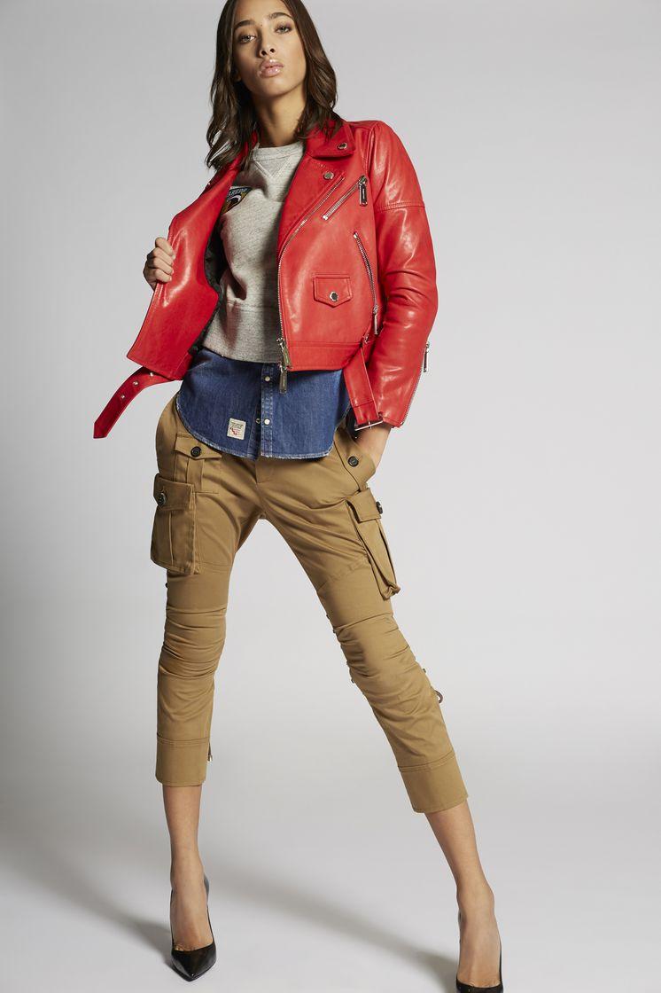 DSQUARED2 Leather Biker Jacket Chaquetas de piel Mujer