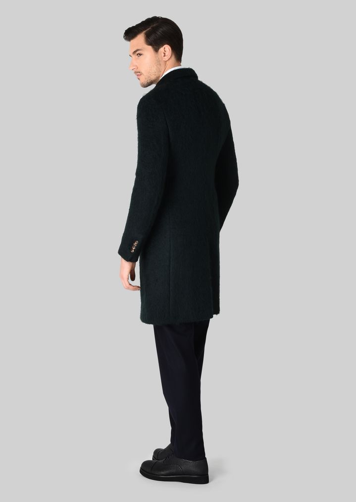 GIORGIO ARMANI Double-breasted coat in wool and mohair Classic Coat Man d