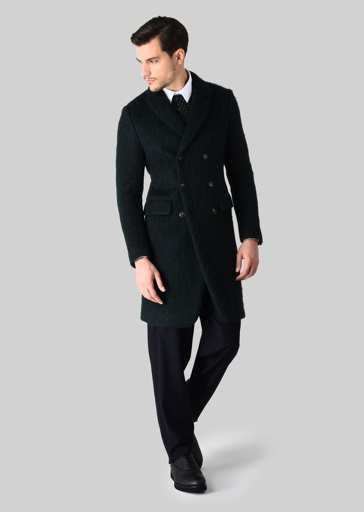 GIORGIO ARMANI Double-breasted coat in wool and mohair Classic Coat Man f
