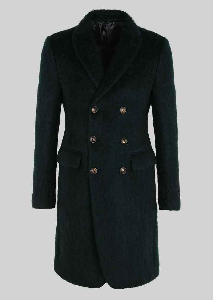 GIORGIO ARMANI Double-breasted coat in wool and mohair Classic Coat Man r