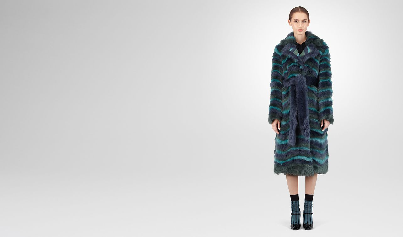 multicolor shearling coat landing