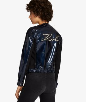 KARL LAGERFELD KARL METALLIC LEATHER BOMBER