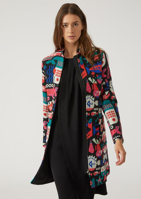 JACQUARD DUSTER COAT WITH FISH