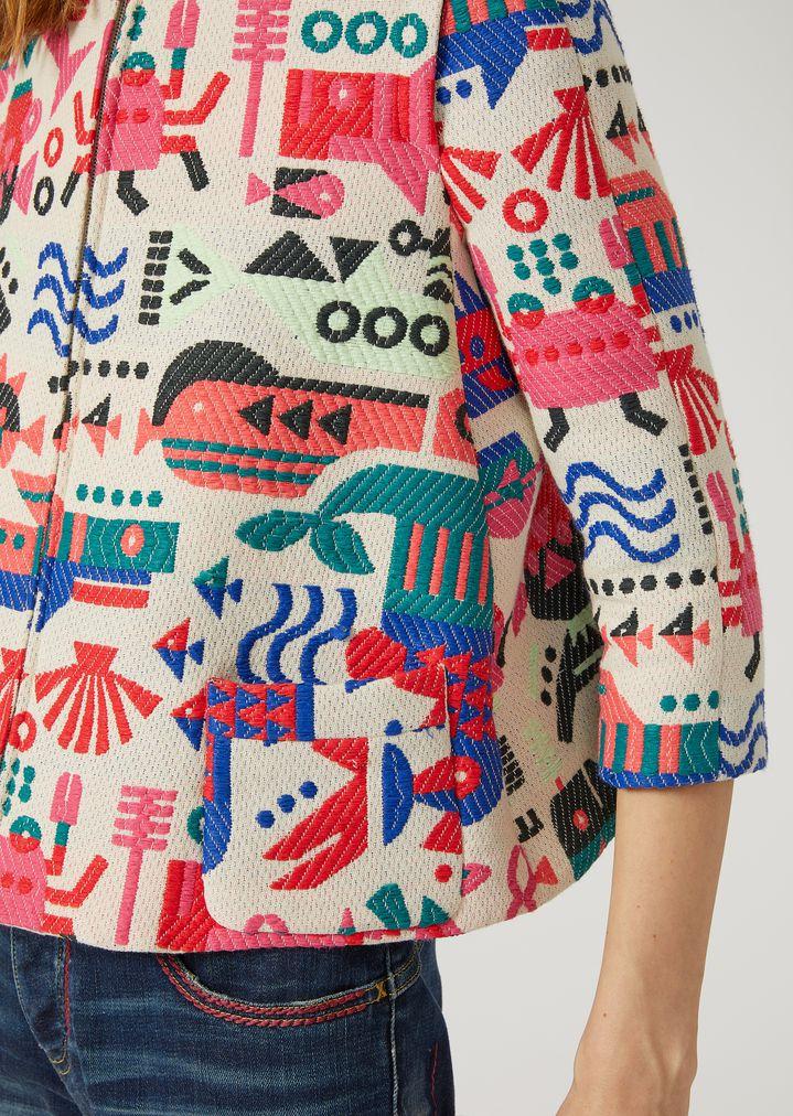 EMPORIO ARMANI JACQUARD BLOUSON WITH CYBER FISH Fashion Jacket Woman a