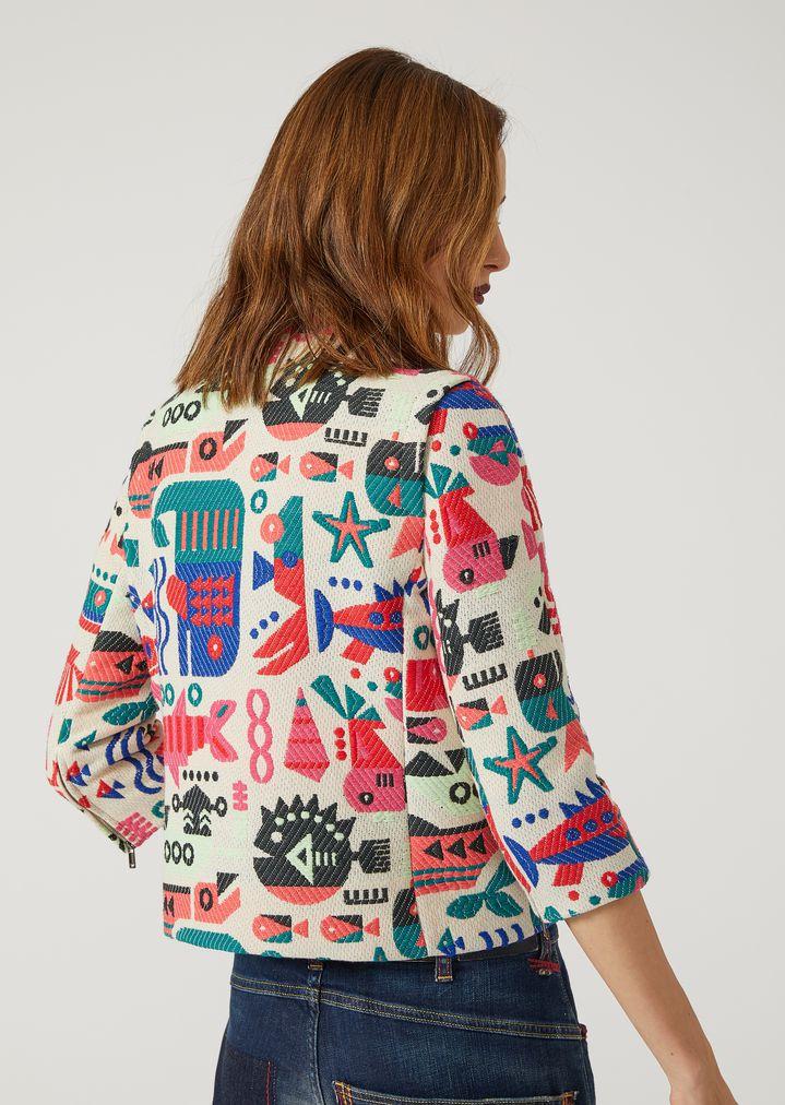 EMPORIO ARMANI JACQUARD BLOUSON WITH CYBER FISH Fashion Jacket Woman e