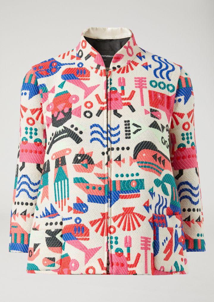 EMPORIO ARMANI JACQUARD BLOUSON WITH CYBER FISH Fashion Jacket Woman r