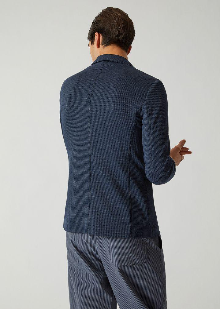 76dd1667eb Single-breasted yarn-dyed jersey jacket | Man | Emporio Armani