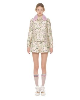"REDValentino  ""Insects"" brocade jacket with mink fur collar"