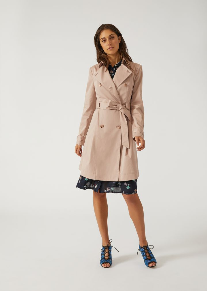 323704704fa Double-breasted trench with belt | Woman | Emporio Armani