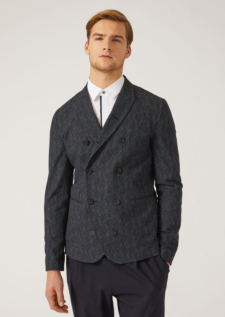 4db12ad7a1 UNLINED DOUBLE-BREASTED COTTON JACKET | Man | Emporio Armani