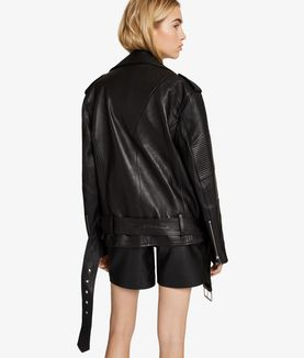 KARL LAGERFELD OVERSIZED LEATHER BIKER JACKET
