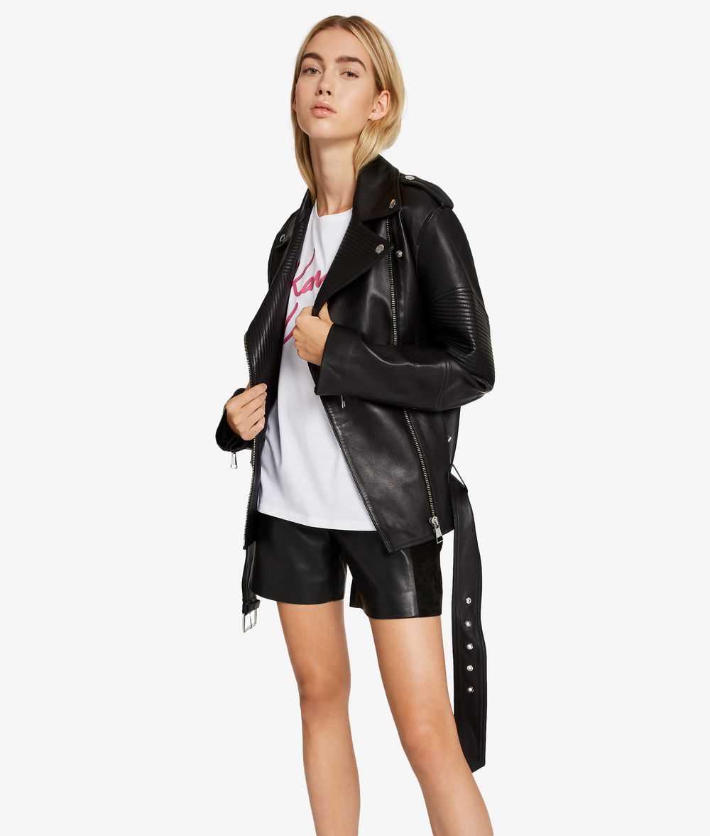 KARL LAGERFELD Oversized Leather Biker Jacket Jacket Woman d