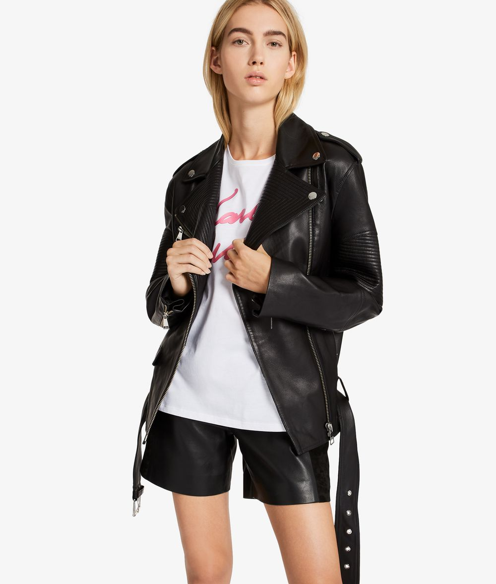 KARL LAGERFELD Oversized Leather Biker Jacket Jacket Woman f