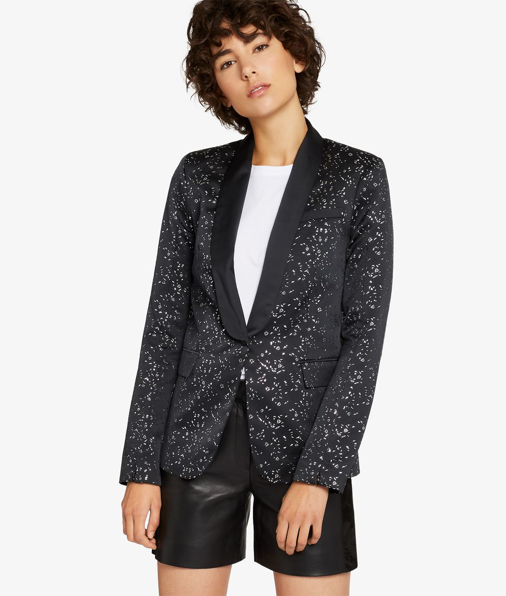 KARL LAGERFELD Diamond Jacquard Tux Blazer Blazer Woman f