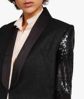KARL LAGERFELD BLAZER DE SMOKING COUPE COURTE À PAILLETTES
