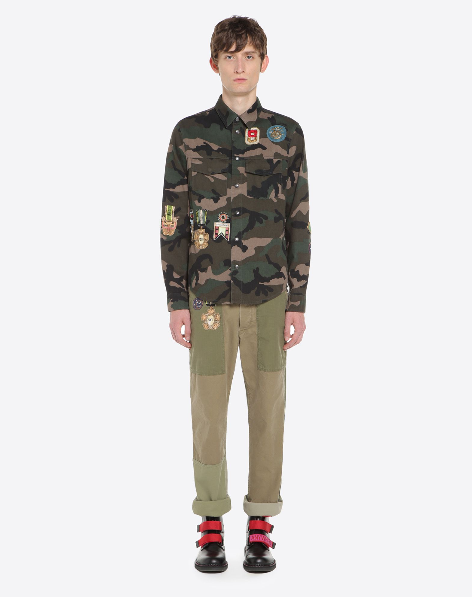 VALENTINO UOMO Outerwear shirt with military embroidery JACKET U r