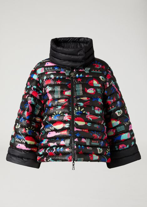 DOWN JACKET IN PRINTED TECHNICAL FABRIC