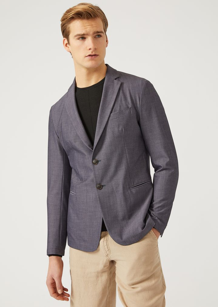 112a18c200 Unlined Jacket In Stretch Fabric   Man   Emporio Armani