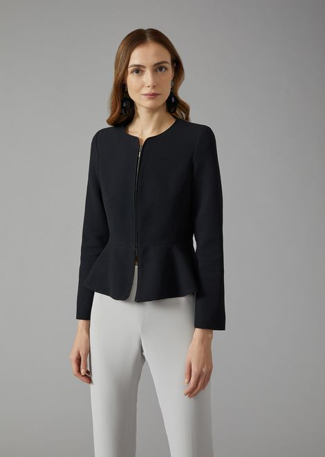 Jacket in jacquard fabric with peplum