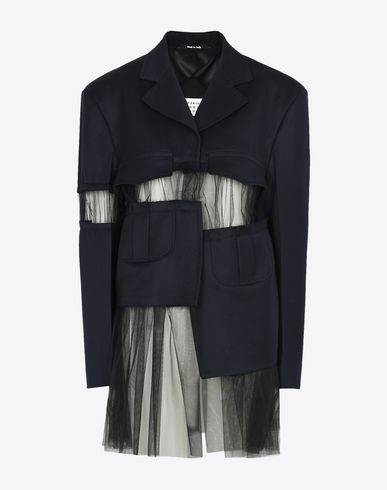 MAISON MARGIELA Full-length jacket D Wool jacket with tulle cut-outs f