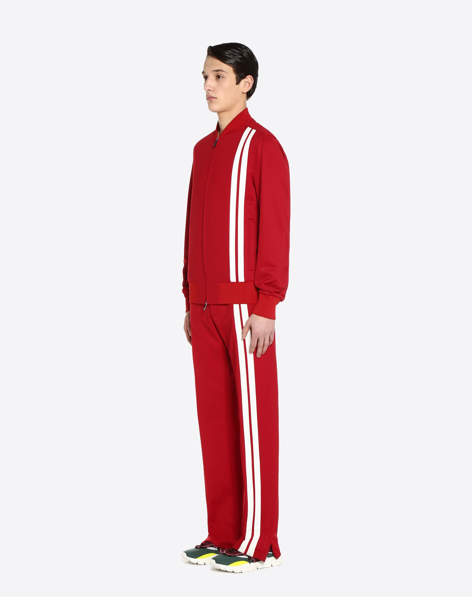 VALENTINO UOMO Vertical stripe inlays sweatshirt with VLTN logo JACKET U d