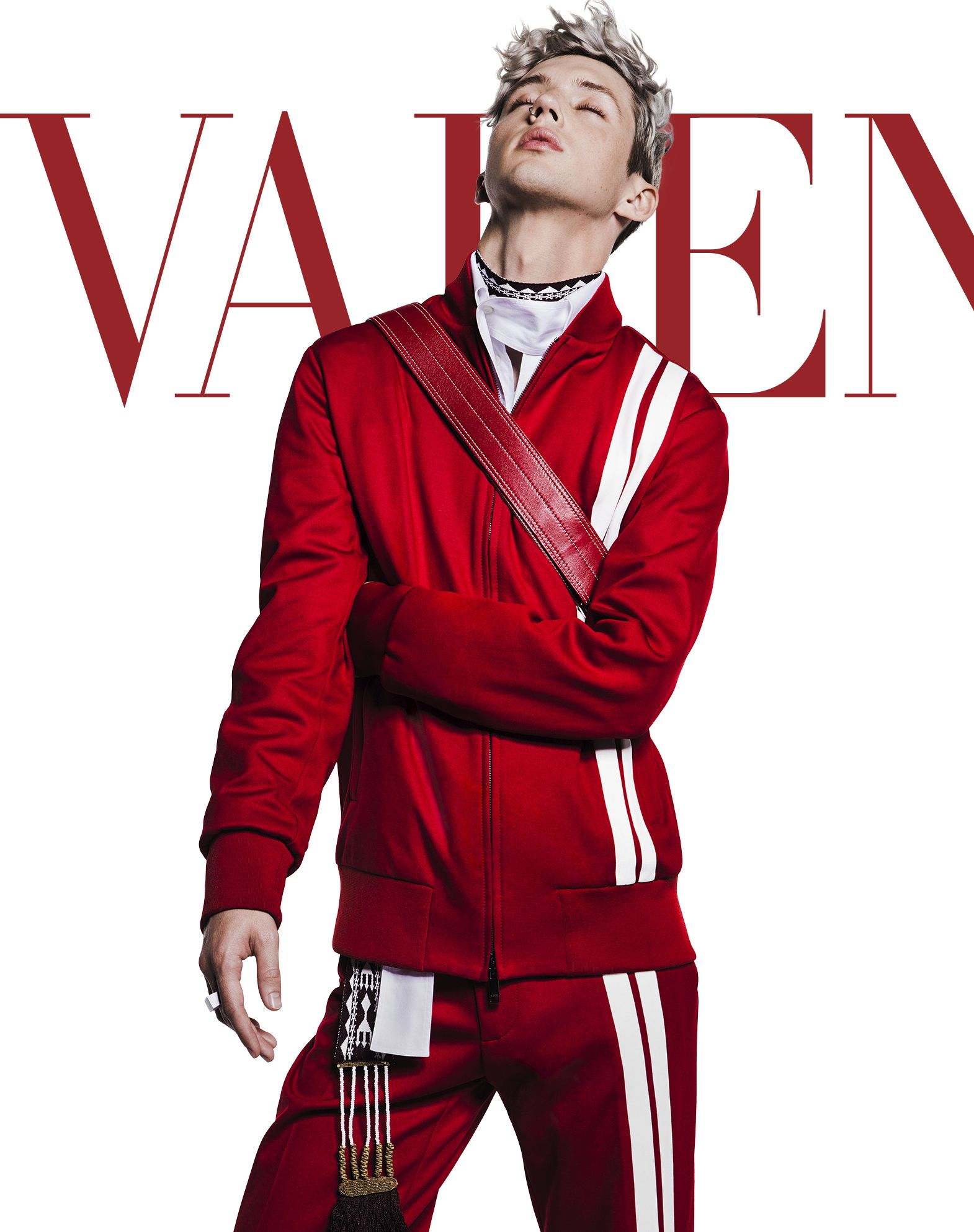 VALENTINO UOMO Vertical stripe inlays sweatshirt with VLTN logo JACKET U l
