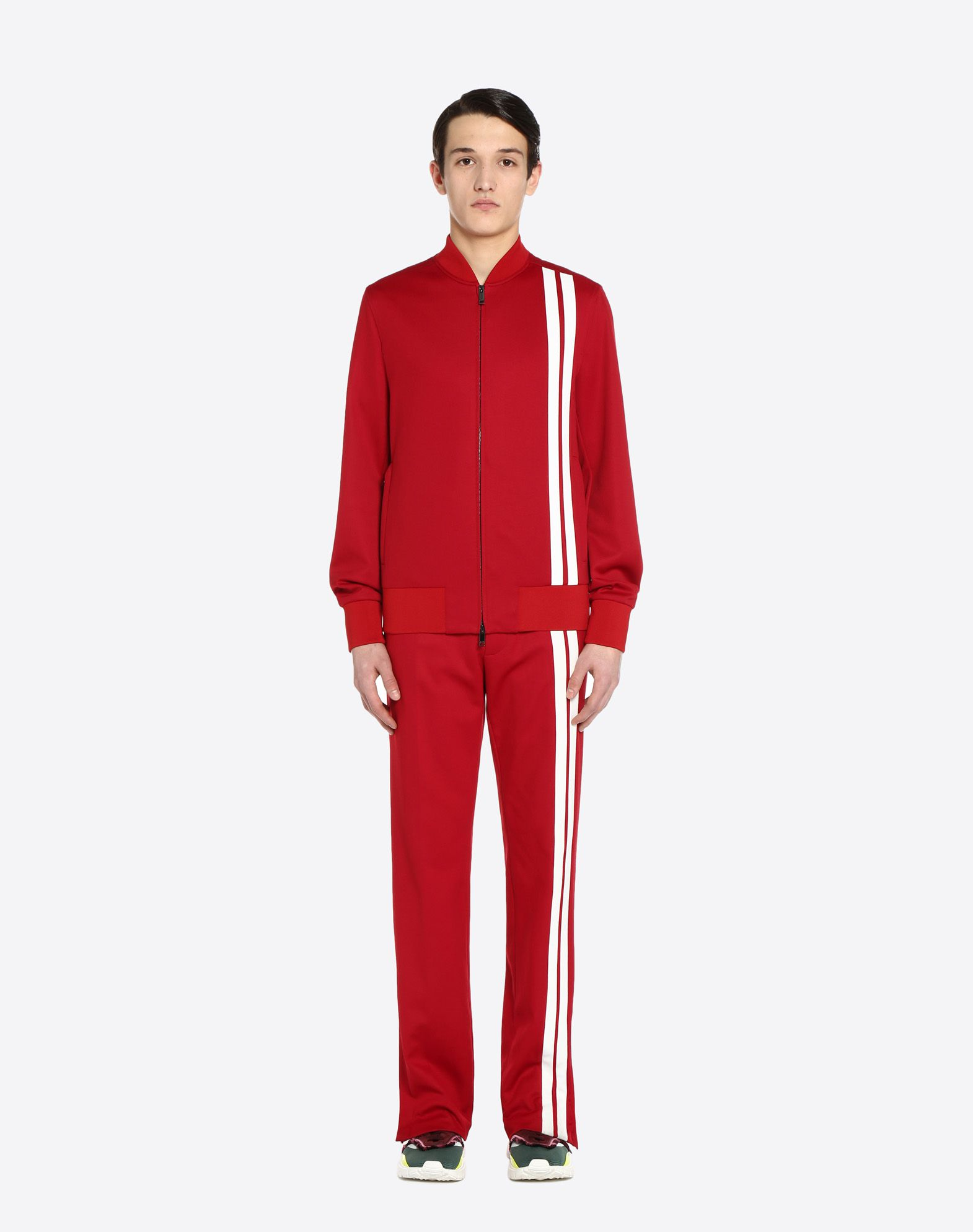 VALENTINO UOMO Vertical stripe inlays sweatshirt with VLTN logo JACKET U r