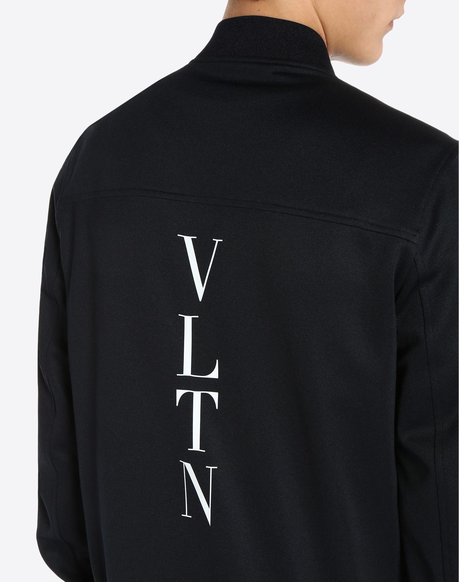 VALENTINO UOMO Sudadera con rayas verticales grabadas y logotipo VLTN CHAQUETA U a