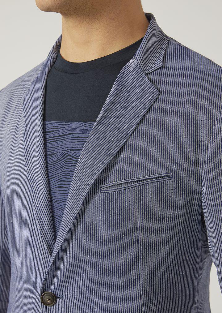 43cb8c2a Single-breasted linen chambray jacket | Man | Emporio Armani