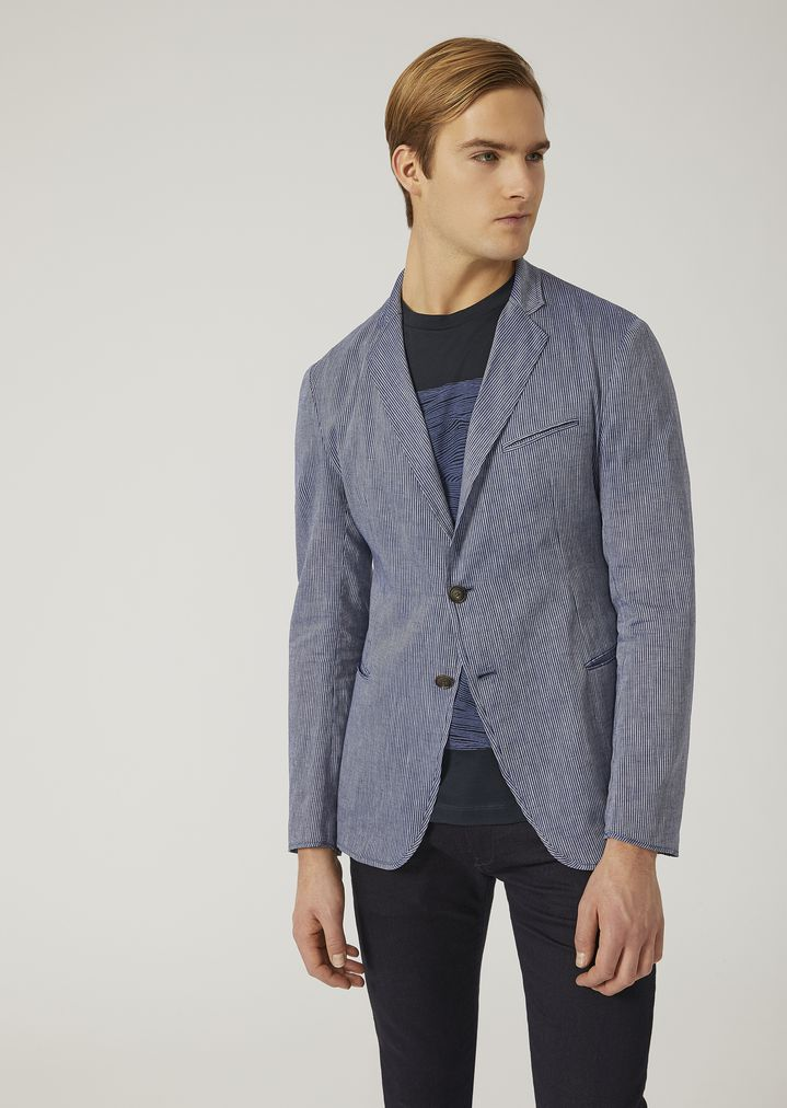 c126a0454d Single-breasted linen chambray jacket | Man | Emporio Armani